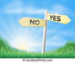 campo, sí, señal, o, no