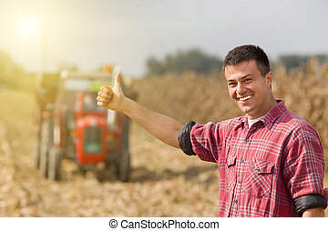 campo, satisfeito, agricultor