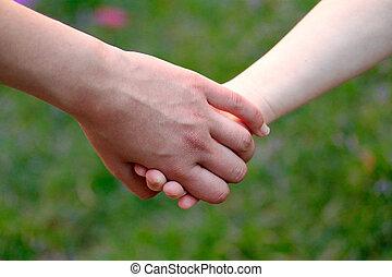 campo, segura, mãe, mão, criança