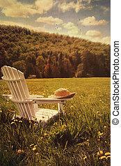 campo, silla, pasto o césped, adirondack, alto