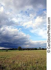 campo, sopra, nubi, tempesta