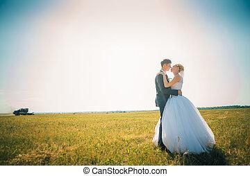 campo, sposo, fondo, sposa