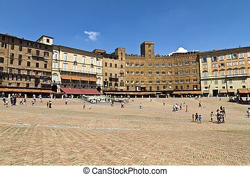 Siena - Campo Square with Mangia Tower, Siena, Italy