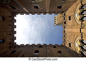 Campo Square with Mangia Tower, Siena, Italy