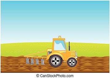 campo, terra, arados, trator