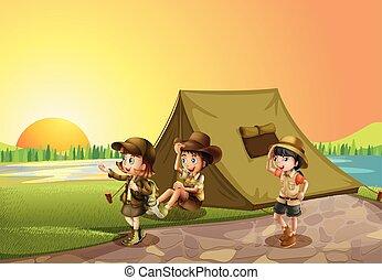 campo, thee, crianças, acampamento