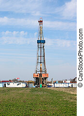 campo, tierra, perforar aceite, aparejo