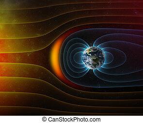 campo, tierra, s, magnético, planeta