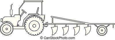 campo, trabalho, maquinaria, trator, agrícola
