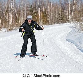 campo través, hombre, esquí