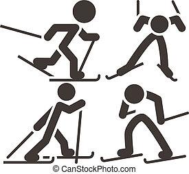 campo través, iconos, esquí, conjunto