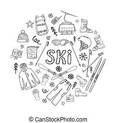 campo través, montaña, esquís, conjunto