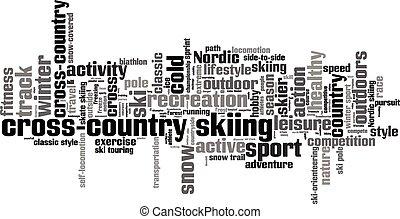 campo través, palabra, nube, esquí
