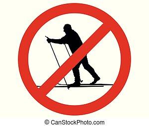 campo través, señal, prohibición, esquí