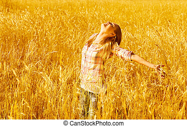 campo, trigo, femininas