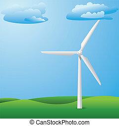 campo, turbina, capim, vento