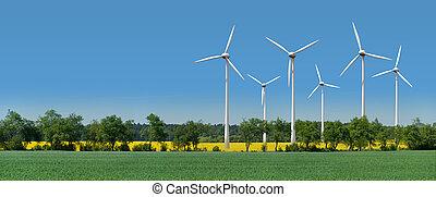 campo, turbinas, rapeseed, vento