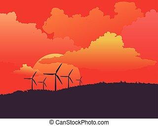 campo, turbinas, vento
