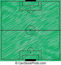 campo, vector, ilustración, fútbol