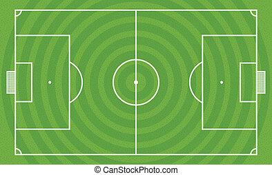 campo, vector, verde, plantilla, fútbol