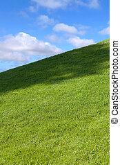 campo verde, blu, cielo