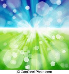 campo verde, blu, cielo, con, nube bianca