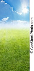 campo verde, cielo azul, sol brillante