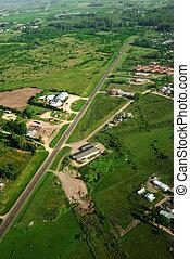 campo verde, e, estrada rural, vista aérea