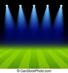 campo, verde, proyectores, iluminado
