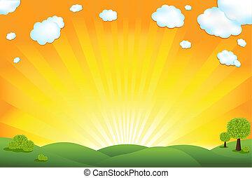 campo verde, y, salida del sol, cielo