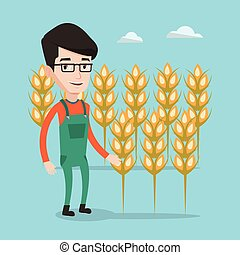 campo, vetorial, trigo, illustration., agricultor