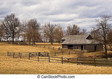 campo, viejo, granero