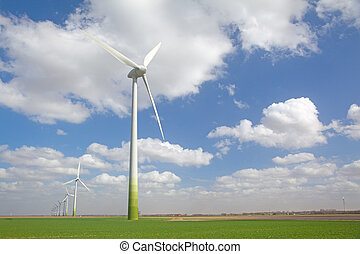 campo, windturbines, agrícola