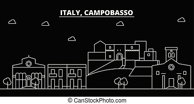 Campobasso silhouette skyline. Italy - Campobasso vector city, italian linear architecture, buildings. Campobasso travel illustration, outline landmarks. Italy flat icons, italian line banner
