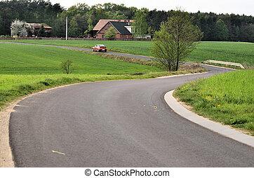 campos, curva, camino, doble
