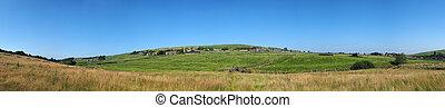 campos, rodante, oeste, azul, colden, verano, aldea, panorámico, casas, largo, valles, packhorse, yorkshire, campo, cielo verde, vista puente, antiguo