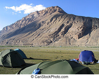 Campsite in Dry river bed - India, Himachal Pradesh