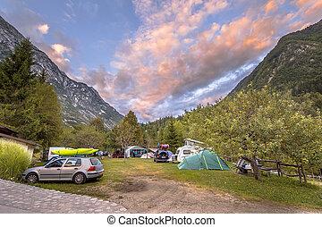 Campsite in Triglav National Park at sunset