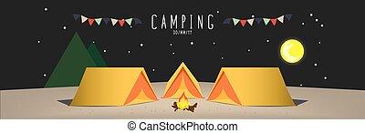 Campsite (Night) - Illustration vector of a campsite....