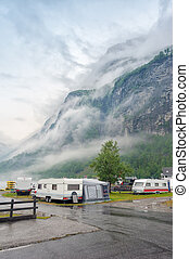 Campsite on the Geiranger fjord. Travel on Norway