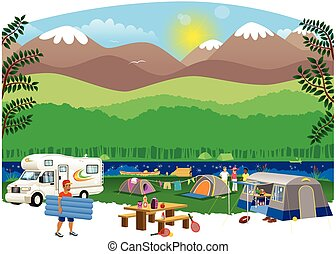 An illustration of a campsite scene in the countryside.