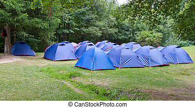 Campsite - Camping site with blue tents set up