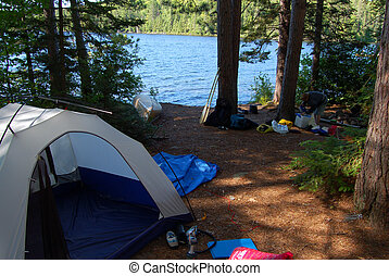 Campsite - Sunny evening after day of canoeing in Algonquin...