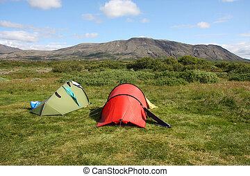 Campsite - Campground in Thingvellir - famous tourist area...