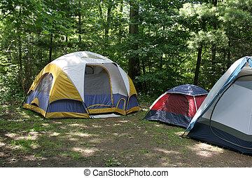 campsite, sunlit