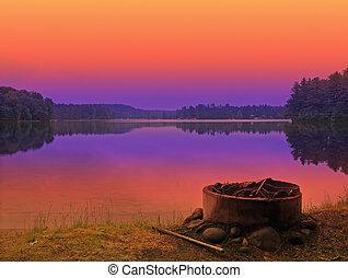 campsite sunset - campsite at sunset in the adirondack...