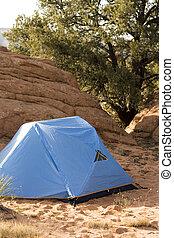 Campsite with Tent in Desert