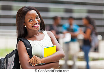 campus, college student, vrouwelijke afrikaan
