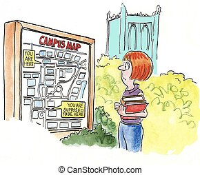 Campus Map - A female student looking at a campus map that...