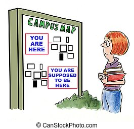 Campus Map - Education cartoon showing student who is lost...
